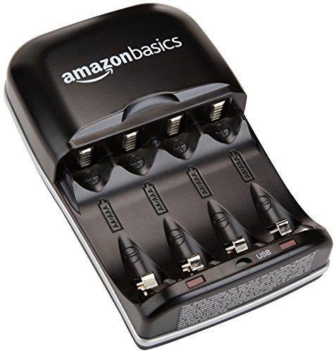 Panasonic eneloop, Ready-to-Use NI-MH Akku, AAA Micro, 8er Pack mit wiederverwendbarer Verpackung, min. 750 mAh, 2100 Ladezyklen & Amazon Basics Batterieladegerät für NI-MH AA/AAA Akkus und USB