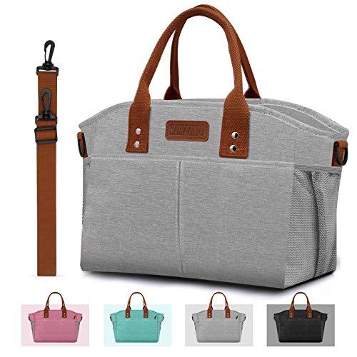 SAEVVKYO Isolierte Lunch Tasche, große Tragetasche für Erwachsene, Lunchbox für Damen, Herren, Arbeit, Picknick, Wandern, Angeln, mit Schultergurt, Seitentaschen, Getränkehalter, Grau, extra groß