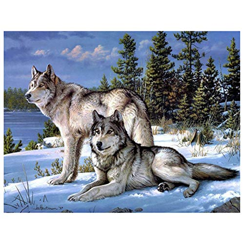 5D DIY Diamond Painting by Number Kit Wolf Round Drill,70x50cm Adults and Kids Full Drill Beads Crystal Rhinestone Embroidery Cross Stitch Picture Supplies Arts Craft for Home Wall Decor U4246