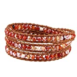 KELITCH Fire Agate Beads on Genuine Leather 3 Wrap Bracelet Handmade New Charm Summer Jewelry