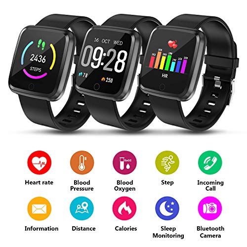 AGPTEK 1.3'' Large Touch Screen Fitness Tracker, Waterproof Smart Watch w/BP, HR, Sleeping Monitor, Tracker Pedometer