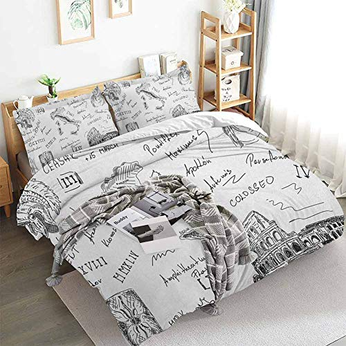Aishare Store Toga Party Duvet Cover Set,Ancient Roman Period Icons Caesar Colosseum Gladiator and Map Sketch Art,Decorative 3 Piece Bedding Set with 2 Pillow Shams,Queen(90'x90') Black and White