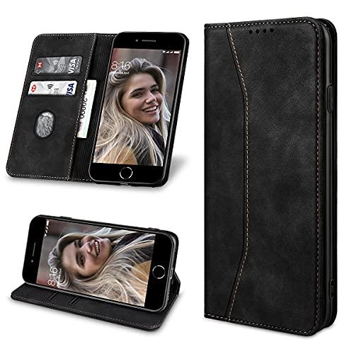 Yokata per Cover iPhone 7/8/SE 2020 Pelle Custodia per iPhone 7/8/SE 2020 Portafoglio Flip Caso PU + TPU Antiurto Funzione Supporto Stand Libro Magnetica Shockproof Case per iPhone 7/8/SE 2020 - Nero