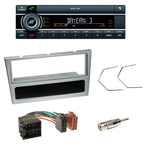 Kienzle MCR1116BT Autoradio mit USB/AUX/BT+1-DIN Blende+ Fach matt-Chrom+ Antennenadapter ISO -> DIN für Opel Agila/Combo C/Corsa C/Omega B/Meriva/Trafic II/Suzuki Wagon R+