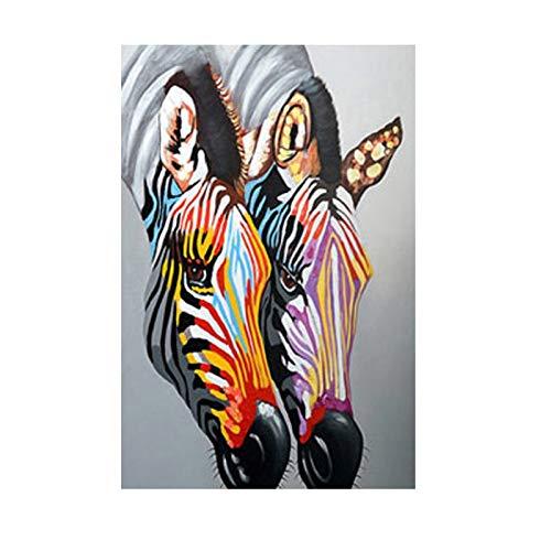 Zebra Poster Tierbild Wandkunst Bilder Leinwand Malerei Bunte Drucke Moderne dekorative Drucke für Wohnzimmer60x90cm(Kein Rahmen)