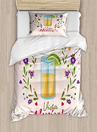 ABAKUHAUS Tequila Dekbedovertrekset, Bloemen Viva Mexico, Decoratieve 2-delige Bedset met 1 siersloop, 130 cm x 200 cm, Veelkleurig