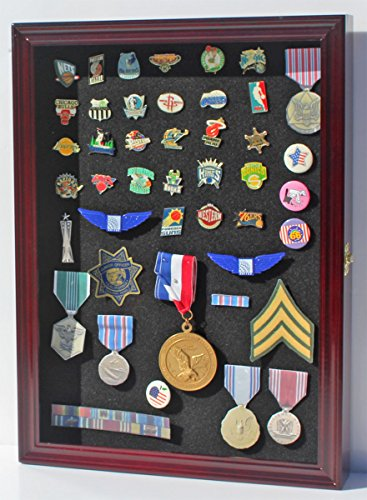Collector Medal/Lapel Pin Display Case Holder Cabinet Shadow Box PC01 (Cherry Finish)