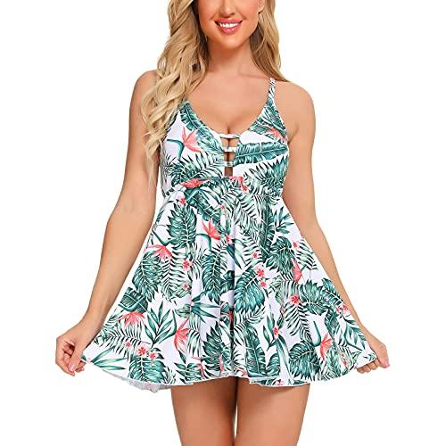 Bikini para mujer con cuello en V y falda de dos piezas. verde XXL