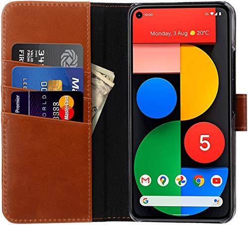 StilGut Talis kompatibel mit Google Pixel 5 Hülle mit Kartenfach aus Leder, Flip Cover, Wallet Hülle, Lederhülle mit Fächern, Standfunktion und Verschluss - Cognac Antik