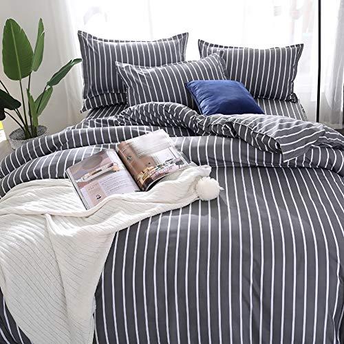 AShanlan Juego de cama de 220 x 240 cm, diseño de rayas, color gris y blanco, 3 piezas, microfibra, funda nórdica con cremallera, funda de almohada de 80 x 80 cm