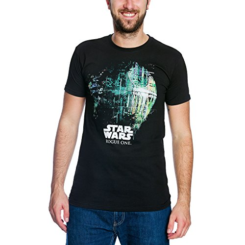 Star Wars Rogue One T-Shirt mit Death Star Todesstern von Elbenwald schwarz - L