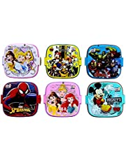 perpetual blisstm fancy double layer disney theme square lunch box for kids,gifts for kids,13x13x10-cm(Multi color) - pack of 6