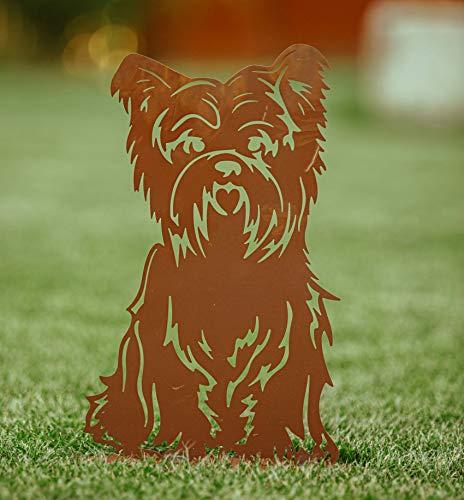 Rostalgie Edelrost Hund Bobby auf Bodenplatte sitzend Gartendekoration - 1 STÜCK (Metall, Bobby klein 40x24)