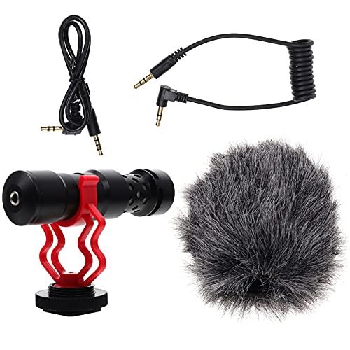 Holibanna Micrófono de cámara DSLR Micrófono de escritorio Micrófono de grabación de vídeo al aire libre Micrófono de mesa ajustable Clip de micrófono con soporte para equipo de grabación de música