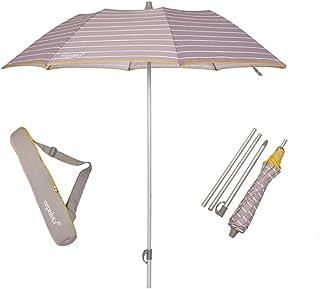 EZPELETA Sombrilla terraza. Parasol/Sombrilla de Playa.Paraguas Sol Ligero y Plegable de Aluminio. 170cm. Protección Solar UPF 50+. Estampado Rayas/Marinero. Incluye Funda/Bolsa. - Rayas-Gris