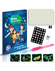 Festnight A5 3D Luminous Drawing Board Pad Writing Painting Board Draw with Light Fun and Developing Toy for Kids Gift