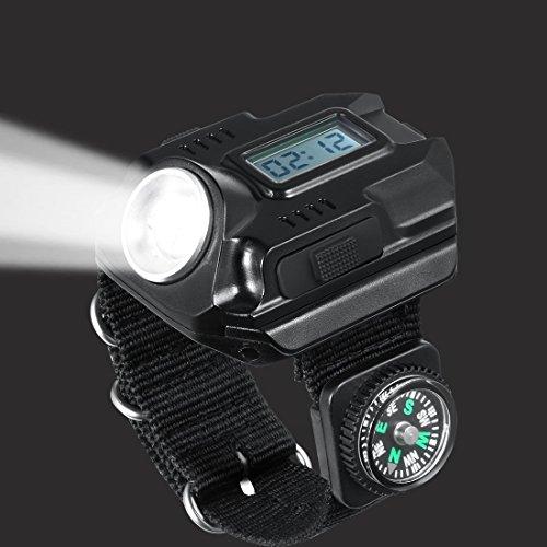 Armbanduhr mit R5-LED-Taschenlampe, besonders hell, wiederaufladbar, wasserdicht, mit Kompass, ideal zum Joggen, Bergsteigen, Zelten, beim Wandern, Jagen oder Patrouillieren
