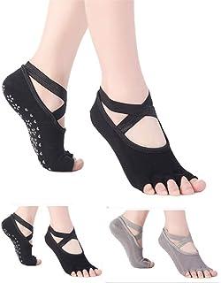 SANIQUEEN.G, 2 Pares Mujer de Calcetines de Mitad Dedos Separados para Yoga,Pilates y Baile Calcetines Fitness/Danza/Ballet Calcetín EU 34-40