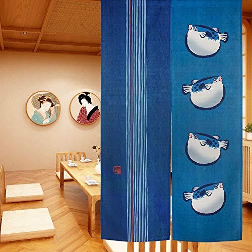 LIGICKY Cortinas de Puerta Estilo japonés Tradicional Noren para decoración del hogar, 85 x 150 cm, Color Azul (pez hinchado)