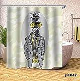 NUGKPRT Cortina de la Ducha,Cortinas de Ducha de Caballo Cortinas de baño de Animales Impermeables para bañera de baño Cubierta de baño Grande y Ancha 12 Piezas Ganchos W150xH180cm Pattern8