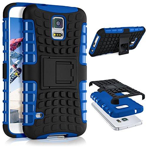 ONEFLOW® Tank Case kompatibel mit Samsung Galaxy S5 Outdoor Hülle | Panzer Handyhülle mit Ständer - 360 Grad Handy Schutz aus Silikon & Kunststoff, Blau