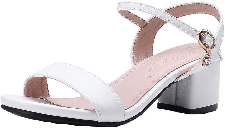 AllhqFashion Women's Solid PU Kitten-Heels Open-Toe Buckle Sandals, White, 36