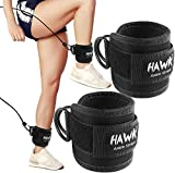 Ankle Straps for Cable Machines Padded Ankle Cuffs (Pair) - for Legs, Glutes, Abs and Hip Workouts Fits Women & Men - Fully Adjustable & Breathable Ankle Strap Set (Black)
