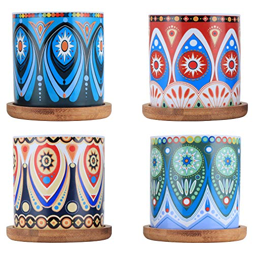 Coolty 4pcs Vasi per Piante Grasse in Ceramica, 7.5CM Vasi per Piante Piccoli in Motivo Mandala con Vassoio in bambù per Arredamento Ufficio Casa