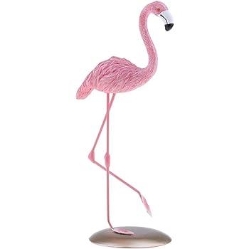 Flamingo DEKO-Figur Garten shabby Metall Landhaus Statue Vogel Höhe 46 cm Silber