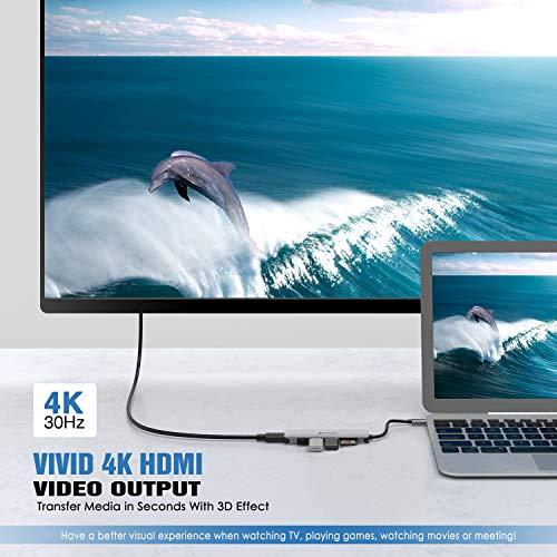 USB-C-Hub-Multiport-Adapter – 7 in 1 tragbarer Platz, Aluminium-Dongle mit 4K HDMI-Ausgang, 3 USB 3.0-Anschlüsse, SD/Micro SD-Kartenleser, kompatibel für MacBook Pro, XPS und mehr Typ-C-Geräte