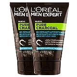 L'ORÉAL Paris Men Expert Scrub Esfoliante Viso Detox Pure Charcoal, Formula Arricchita con Carbone Vegetale, 100 ml, Confezione da 2