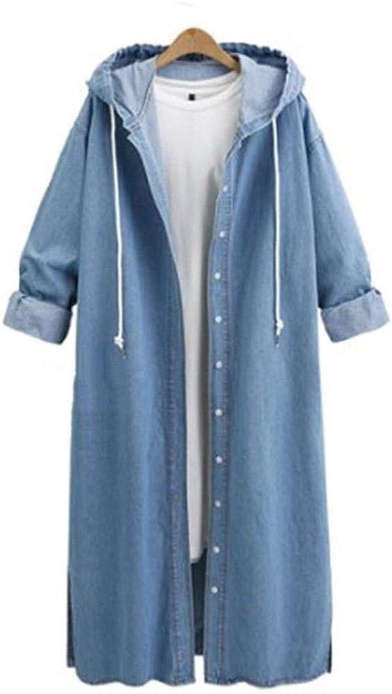 Kulywon Women Hooded Casual Long Sleeve Denim Jacket Long Jean Coat Outwear Overcoat