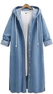Women Hooded Casual Long Sleeve Denim Jacket Long Jean Coat Outwear Overcoat