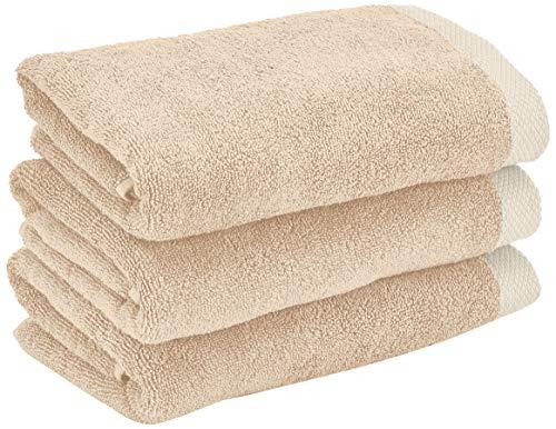 Heckett Lane Bath Hand Towel, 100% Cotton, Cuban Sand, 50 x 100 Cm, 3.0 Pieces