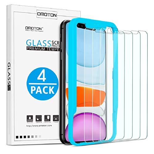 OMOTON [4 Stück] Panzerglasfolie kompatible mit iPhone 11 und iPhone XR (6,1 Zoll),mit Positionierhilfe,9H Härte,Anti-Kratzen,Anti-Öl,Anti-Bläschen