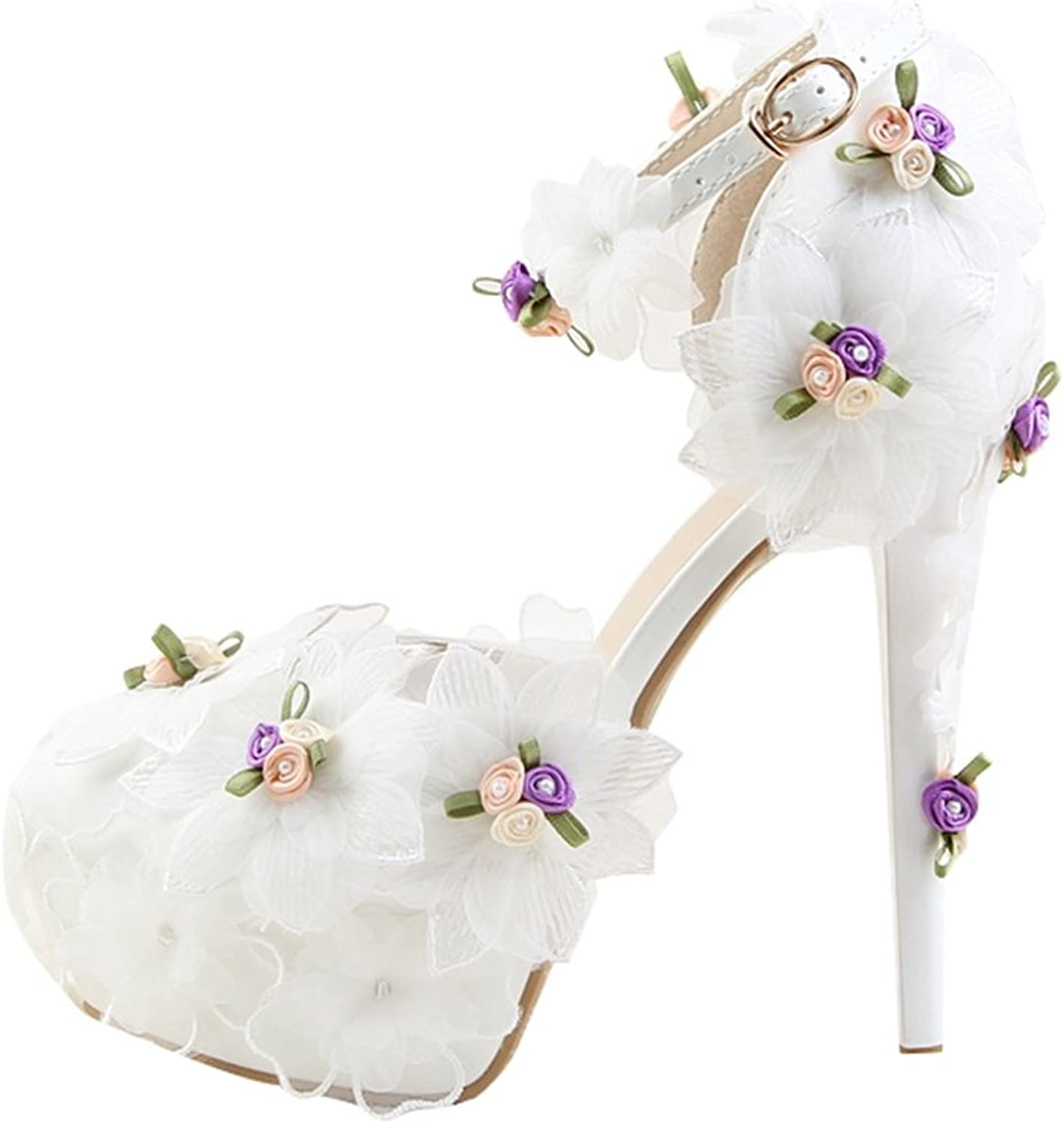 Minishion Women's Hidden Platform Stiletto Heel Bridal Wedding shoes with Lace Flowers