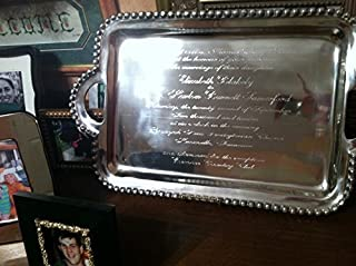 serving tray silver tray engraved tray wedding gift invitation on tray personalized tray