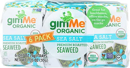 gimMe Organic, Roasted Seaweed Snack, Sea Salt, 6 pack