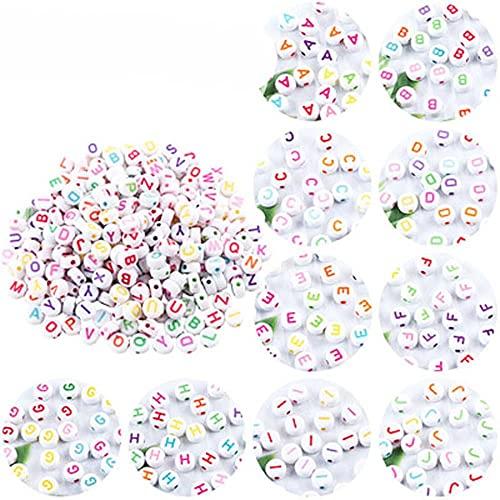 Cuentas de acrílico de letras coloridas mezcladas Cubo plano redondo Perlas espaciadoras sueltas para hacer joyas Collar de pulsera de bricolaje hecho a mano WD0241-200PCS
