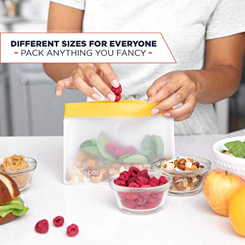 Keeper Reusable Snack Bags (Set of 5, 32 oz) - Reusable Sandwich Bags for Kids Are Resealable Thick Reusable Ziplock Bag For Food, Lunch Storage. Freezer Safe Plastic Lunch Baggies are Hand Washable