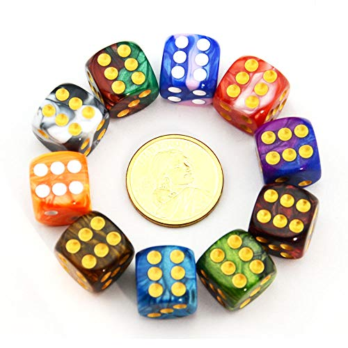 SmartDealsPro 10-Pack Two-Color 16mm Round Angle D6 Six Sided Dice Die for Tenzi, Farkle, Yahtzee, Bunco or Teaching Math