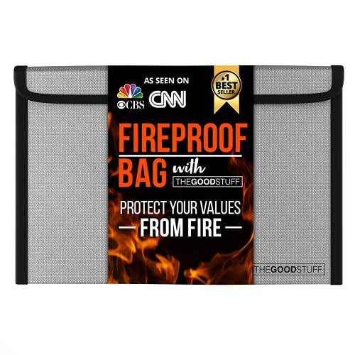 """Fireproof Document Bag Compact Size: 8"""" x 5"""" Fire Proof Bag with Waterproof Coating to Protect Important Documents from Fire, Bug Out Bags"""