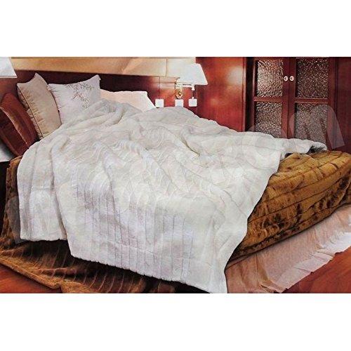 XXL 200 x 150cm Nerzfelloptik Felldecke, Kunstfelldecke, Kuscheldecke, Tagesdecke, Bettüberwurf Decke, Plaid, Wohndecke - Weiß