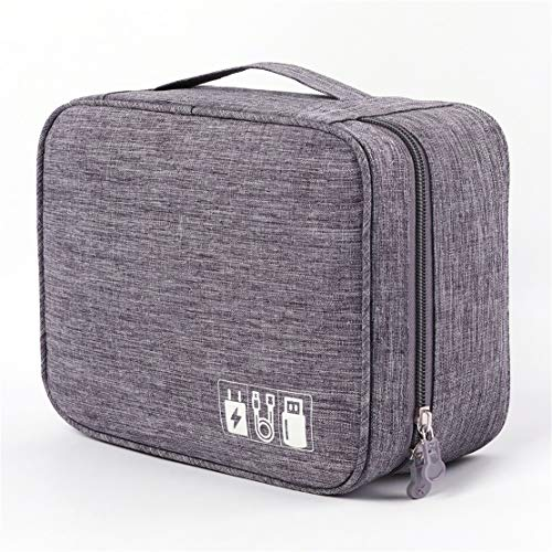 Portable Electronic Organizer Travel Accessories Cable Bag Universal Cord Storage Case Carrying for Charging Cable, Cell Phone, Power Bank,Mini Tablet(Gray)