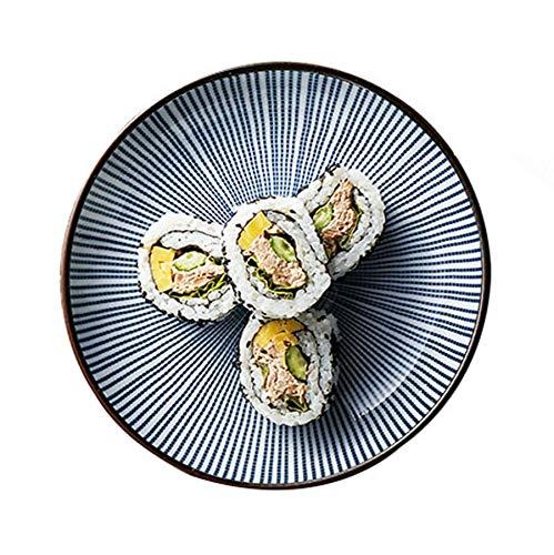 Assiette Ustensiles De Cuisine Design Rond en Céramique Rayée Bol Couverts À Cuillère en Bol De Riz Marron Bleu Diamètre 16.5cm (Color : Blue, Size : 16.5 * 16.5 * 2.5cm)