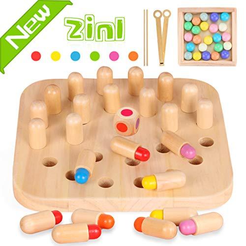 Zaloife Memory Match Stick Schach, Holzgedächtnisspiel, Schach Lernspielzeug, Holzspielzeug und Clip Perlen Montessori Spielzeug Geschenk Kinder ab 3 Jahre Junge Mädchen