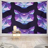 Jbralid ピンクのダイヤモンドと水彩紫色の星の空猫 おしゃれで快適です 壁掛け 装飾布 インテリア ウォールアート 多機能 室内 窓や壁の飾り パーティー用 お店 オリジナルプレゼント
