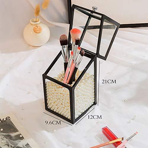 Asttic Maquillage Porte-brosse avec Pearl & Cover, Maquillage clair Moderne Acrylique Organisateur antipoussière Boîte de rangement porte-crayons cosmétiques Faire Détenteurs Pinceau avec couvercle fo