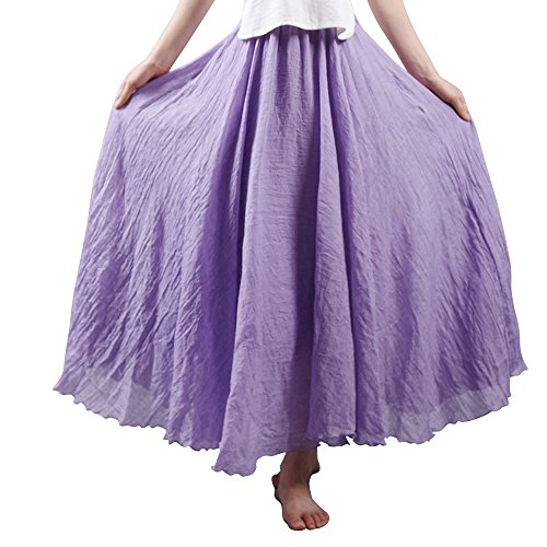 OCHENTA Gonna da donna, lunga, stile bohemienne, con vita elastica, in cotone/lino, Donna, Violetto