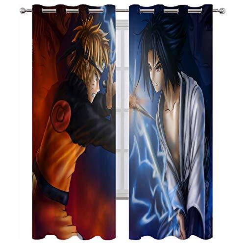 Grommet Thermal Insulated Curtains Naruto Naruto Vs Sasuke Sword Blackout Window Drapes W84 x L84 Inch